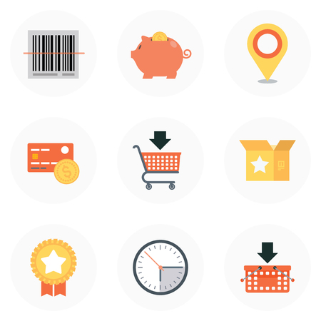 Shopping theme, flat style, colorful, vector icon set for info graphics, websites, mobile and print media.