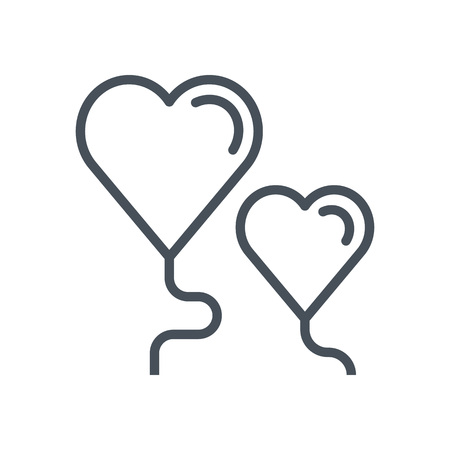 Heart balloon icon suitable for info graphics, websites and print media. Vector, flat icon, clip art.