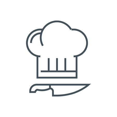 Kitchen, cook hat, cook knife icon suitable for info graphics, websites and print media. Vector icon.