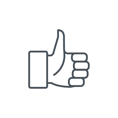confirm: Thumbs up icon suitable for info graphics, websites and print media and  interfaces. Line vector icon.