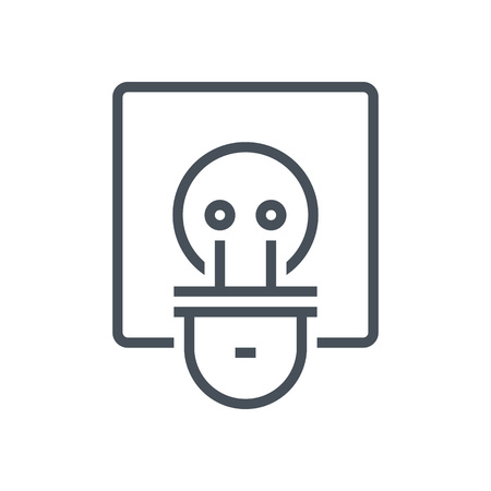 print media: Electric plug icon suitable for info graphics, websites and print media and  interfaces. Line vector icon.