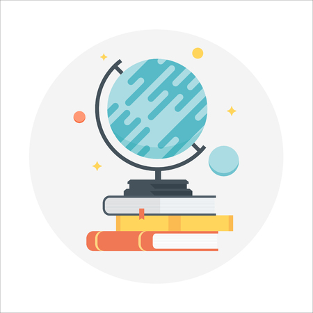 print media: Globe and Books flat style, colorful, vector icon for info graphics, websites, mobile and print media. Illustration