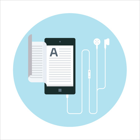 electronic book: Electronic book, audio book flat style, colorful, vector icon for info graphics, websites, mobile and print media.