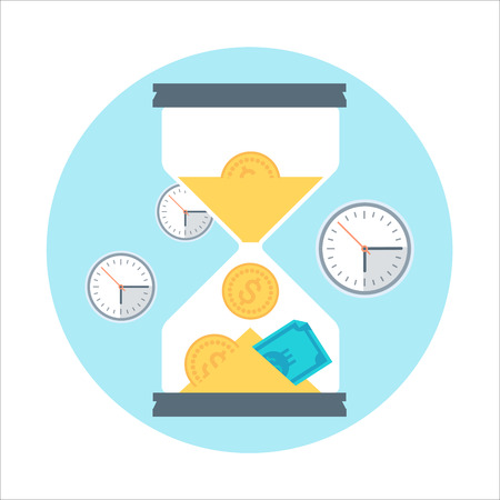 Time is money theme, flat style, colorful, vector icon for info graphics, websites, mobile and print media.