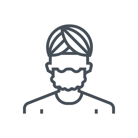 man long hair: Employee, office person avatar icon suitable for info graphics, websites and print media and  interfaces. Line vector icon. Illustration