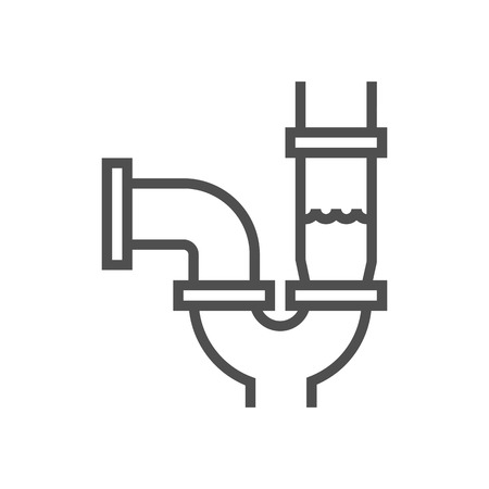 conduit: Water pipes icon suitable for info graphics, websites and print media and  interfaces. Line vector icon.