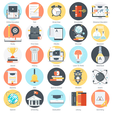Education theme, flat style, colorful, vector icon set for info graphics, websites, mobile and print media.  イラスト・ベクター素材