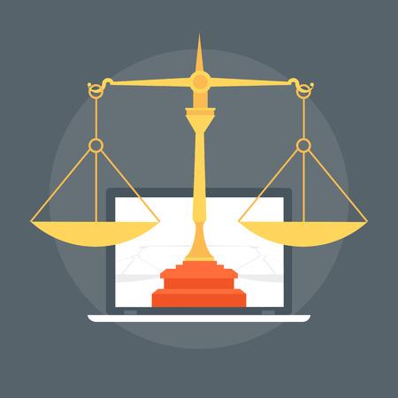 法律フラット スタイル情報のグラフィック、ウェブサイト、モバイル、印刷メディアのアイコン ベクトルのカラフルです。