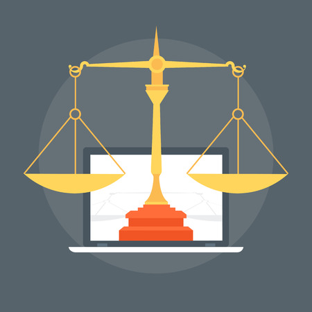 information technology law: Law Flat style colorful, vector icon for info graphics, websites, mobile and print media.