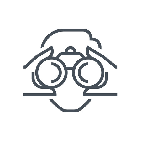 Binoculars, look icon suitable for info graphics, websites and print media and  interfaces. Line vector icon.