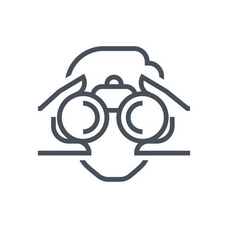 쌍안경, 정보 아이콘, 웹 사이트 및 인쇄 매체 및 인터페이스에 적합한 아이콘을보십시오. 라인 벡터 아이콘입니다. 일러스트