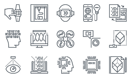 icono de la tecnología conjunto adecuado de información de gráficos, páginas web y medios impresos. iconos de línea plana en blanco y negro. Ilustración de vector
