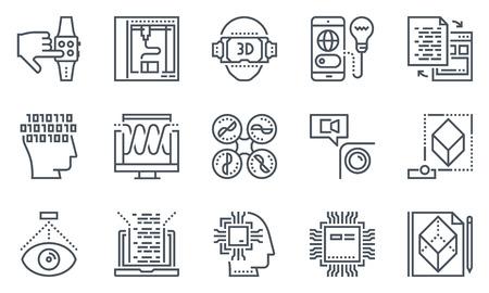 Set di icone di tecnologia adatto per informazioni grafiche, siti Web e supporti di stampa. Icone in bianco e nero linea piatta. Vettoriali