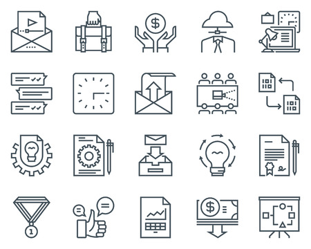 Project development icon set suitable for info graphics, websites and print media. Black and white flat line icons. Illustration