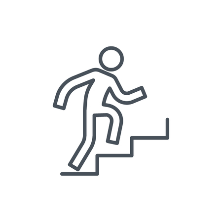 Man climbing up stairs icon suitable for info graphics, websites and print media. Colorful vector, flat icon, clip art.