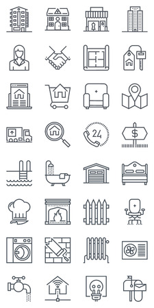 tower house: Thirty two real estate icons, icon set suitable for info graphics, websites and print media. Black and white flat line icons. Illustration