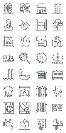 bienes raices: Treinta y dos iconos de bienes raíces, conjunto de iconos adecuados para información de gráficos, páginas web y medios impresos. iconos de línea plana en blanco y negro. Vectores