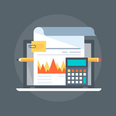 Boekhouding vlakke stijl, kleurrijk, vector pictogram voor info graphics, websites, mobiele en gedrukte media. Stock Illustratie