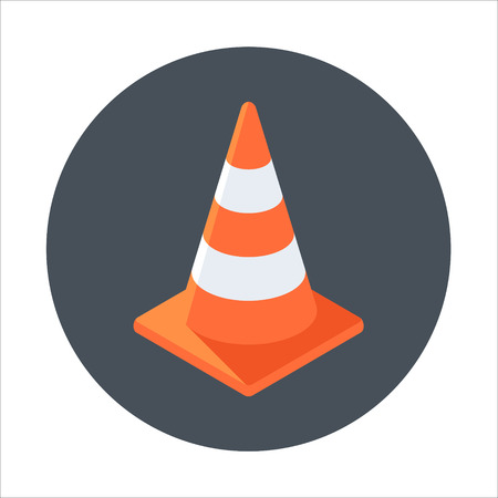 Cone, under construction flat style colorful, vector icon for info graphics, websites, mobile and print media.