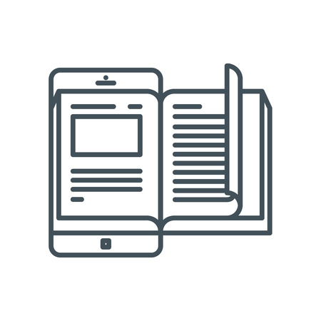 electronic commerce: Electronic book icon suitable for info graphics, websites and print media and  interfaces. Line vector icon.