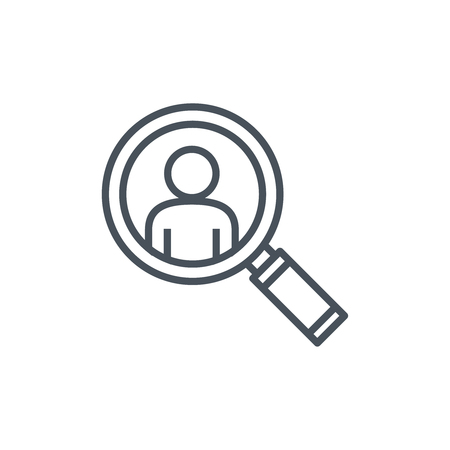 crowd sourcing: Magnifier and man icon suitable for info graphics, websites and print media. Colorful vector, flat icon, clip art. Illustration