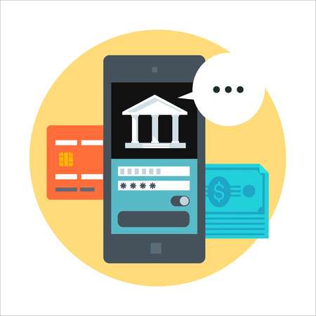 Mobile banking flat style, colorful, vector icon for info graphics, websites, mobile and print media.