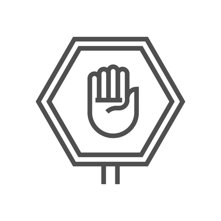Stop sign, hand icon suitable for info graphics, websites and print media and  interfaces. Line vector icon.