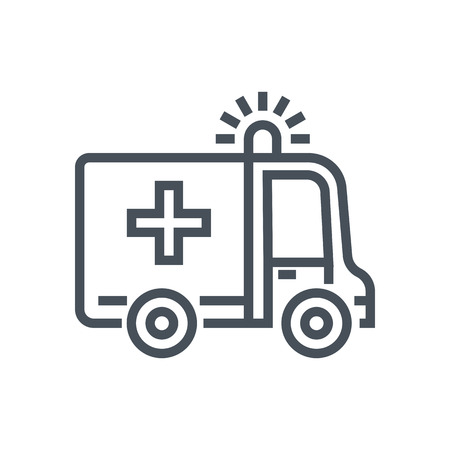 Ambulance icon suitable for info graphics, websites and print media and  interfaces. Line vector icon. Çizim