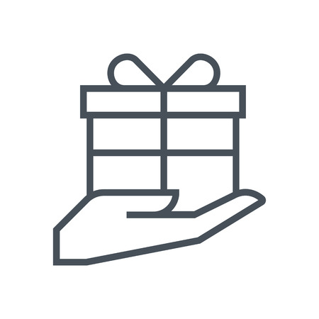 a courtesy: Courtesy, gift box icon suitable for info graphics, websites and print media and  interfaces. Line vector icon. Illustration