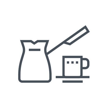 Turkish coffee and pot  icon suitable for info graphics, websites and print media and  interfaces. Line vector icon.