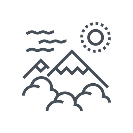 Mountain, nature icon suitable for info graphics, websites and print media and  interfaces. Line vector icon.