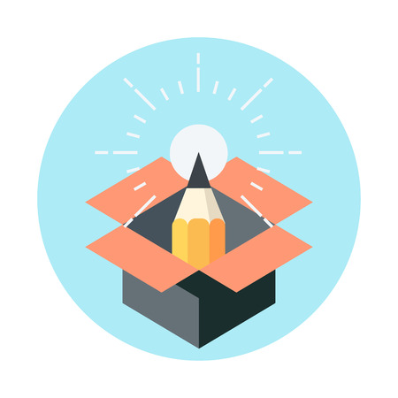 Thinking outside the box, creativity flat style, colorful, vector icon for info graphics, websites, mobile and print media.