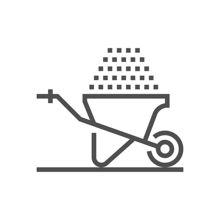 Wheelbarrow icon suitable for info graphics, websites and print media and  interfaces. Line vector icon.