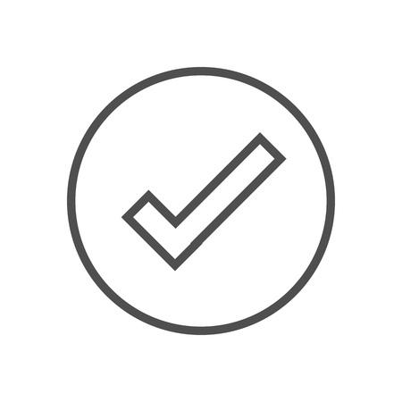 Bestätigung Symbol für Info-Grafiken, Webseiten und Printmedien. Bunte Vektor, flache Symbol, Clip-Art.