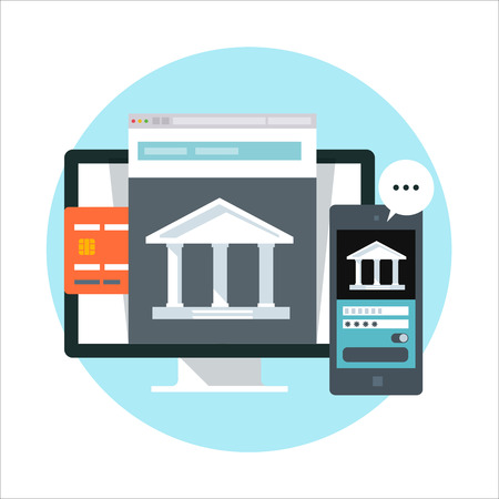 mobile banking: Online banking theme, flat style, colorful, vector icon for info graphics, websites, mobile and print media. Illustration