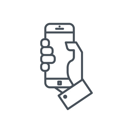 cellphone in hand: Holding mobile phone icon suitable for info graphics, websites and print media and  interfaces. Line vector icon.