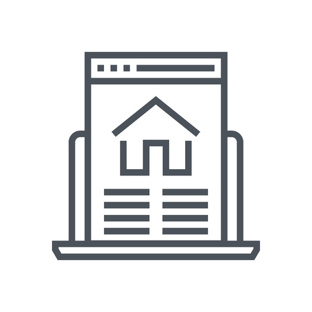 Real estate website icon suitable for info graphics, websites and print media. Vector, flat icon, clip art.
