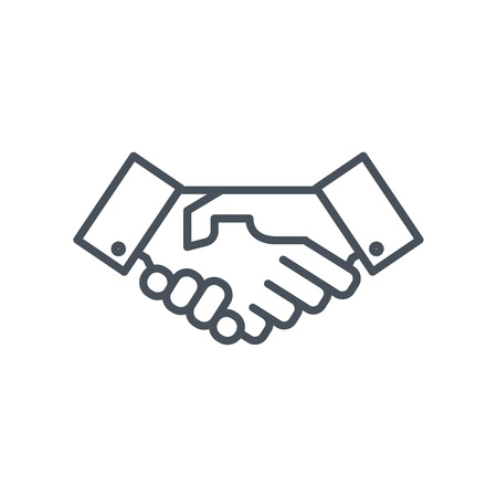 Hand shake icon suitable for info graphics, websites and print media. Colorful vector, flat icon, clip art.