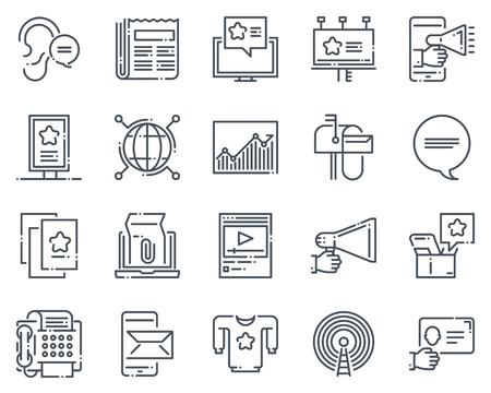 Pubblicità, icona di marketing set adatto per informazioni grafiche, siti web e supporti di stampa. Stile disegnato a mano, icone vettoriali pixel linea perfetta