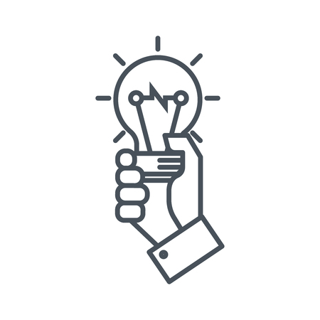edison: Hand holding a light bulb icon suitable for info graphics, websites and print media and  interfaces. Line vector icon.