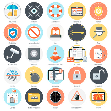 community surveillance: Security and protection theme, flat style, colorful, vector icon set for info graphics, websites, mobile and print media. Illustration