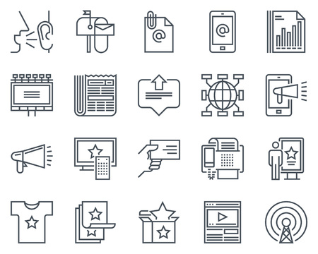 Advertisement, marketing icon set suitable for info graphics, websites and print media. Black and white flat line icons. Vettoriali