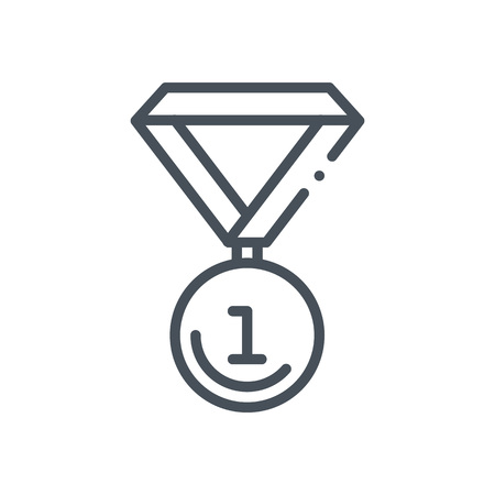 Medal icon suitable for info graphics, websites and print media and  interfaces. Hand drawn style, pixel perfect line vector icon.