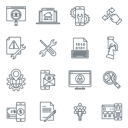responsive: Transfer, synchronize icon set suitable for info graphics, websites and print media and  interfaces. Line vector icon set. Illustration