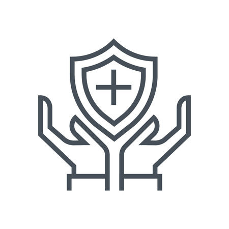 general insurance: Hands and shield, insurance icon suitable for info graphics, websites and print media and interfaces. Line vector icon.