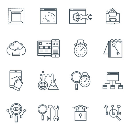 best security: Search engine optimization icon set suitable for info graphics, websites and print media. Black and white flat line icons.