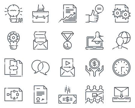 Project development icon set suitable for info graphics, websites and print media.  Hand drawn style, pixel perfect line vector icons