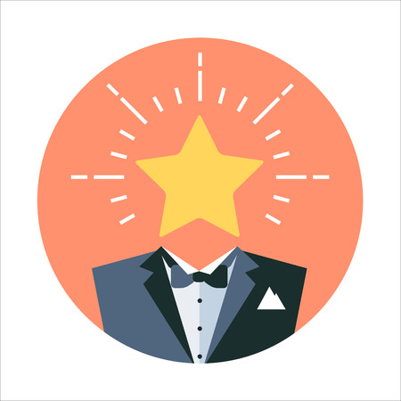 five star: Premium service theme, flat style, colorful, vector icon for info graphics, websites, mobile and print media. Illustration