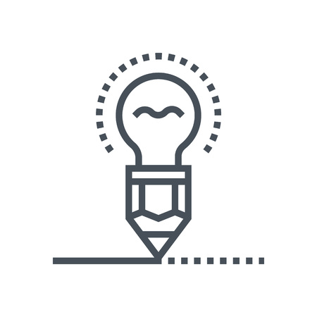 Creativity, pen and lamp icon suitable for info graphics, websites and print media and  interfaces. Line vector icon. Illustration
