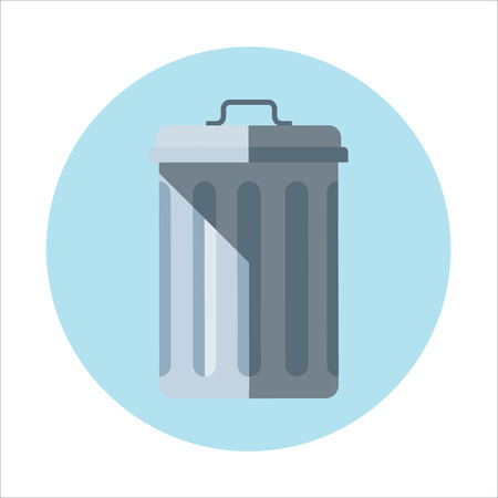 Trash bin theme, flat style, colorful, vector icon set for info graphics, websites, mobile and print media.